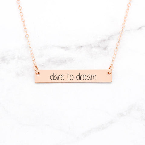 Nevertheless, She Persisted - Rose Gold Quote Bar Necklace