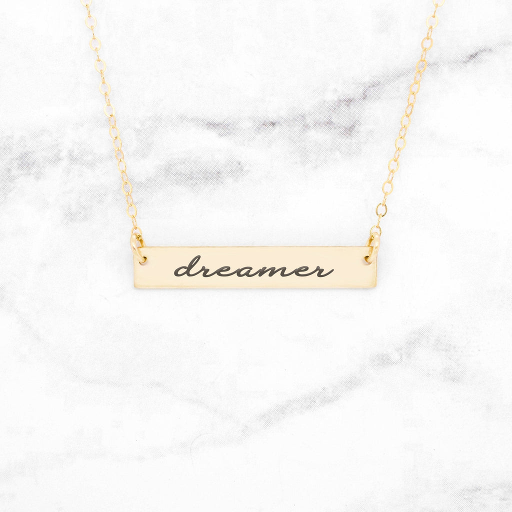Dreamer Necklace - Gold Bar Necklace