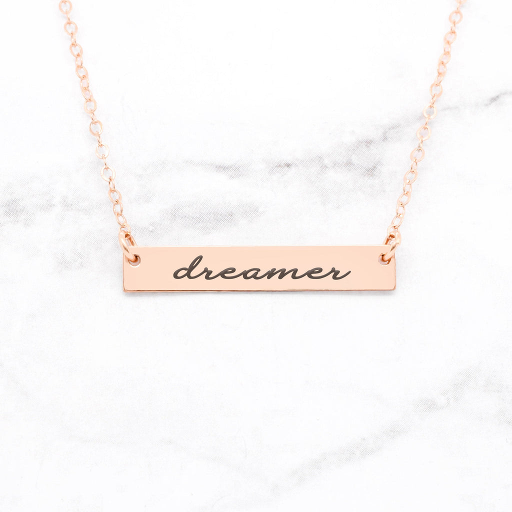 Dreamer Necklace - Rose Gold Bar Necklace