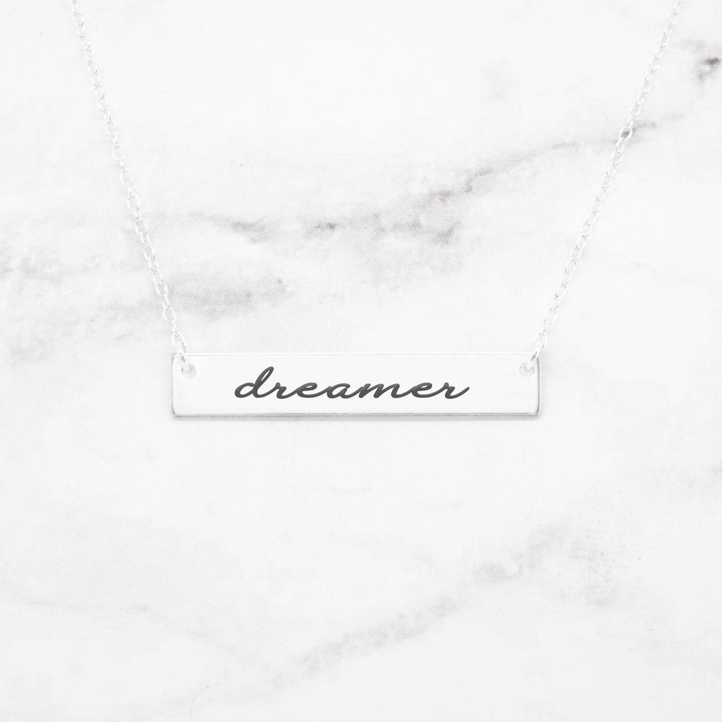 Dreamer Necklace - Sterling Silver Bar Necklace
