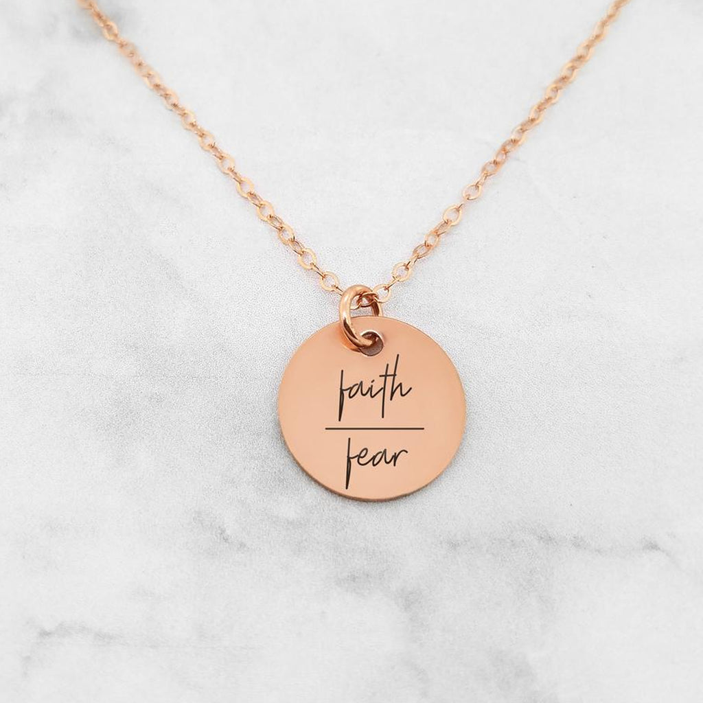 Faith Over Fear Necklace - Quote Necklace