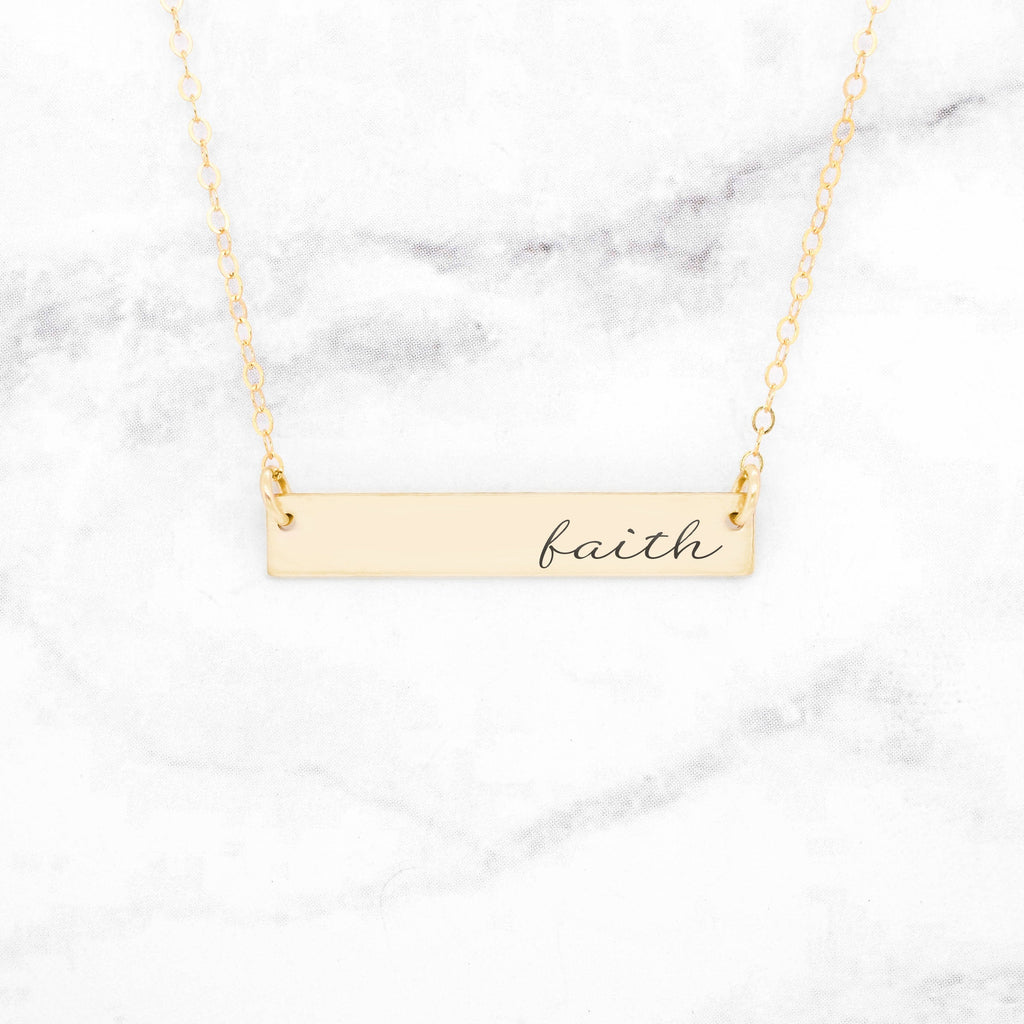 Faith Necklace - Gold Quote Bar Necklace