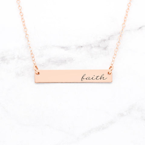 Blessed Necklace - Gold Bar Necklace