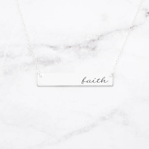 Fearless - Sterling Silver Quote Bar Necklace