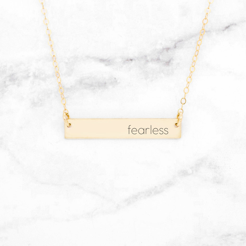 Fearless - Gold Quote Bar Necklace