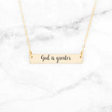 God Is Greater - Gold Bar Necklace