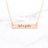 God Is Greater - Rose Gold Bar Necklace