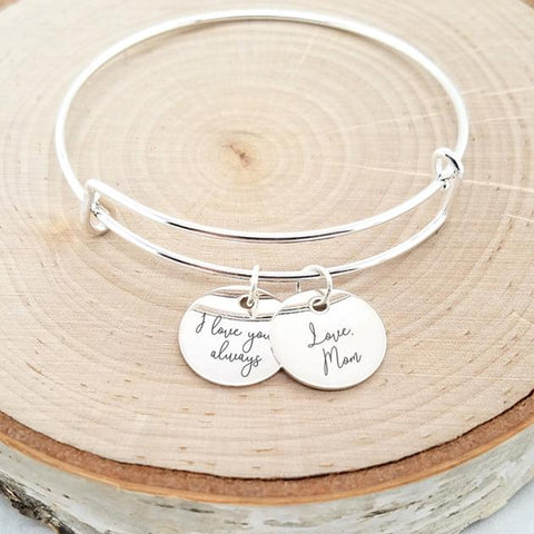 Personalized Gold Bangle - An Adjustable Name Bangle With Your Name Or Dates