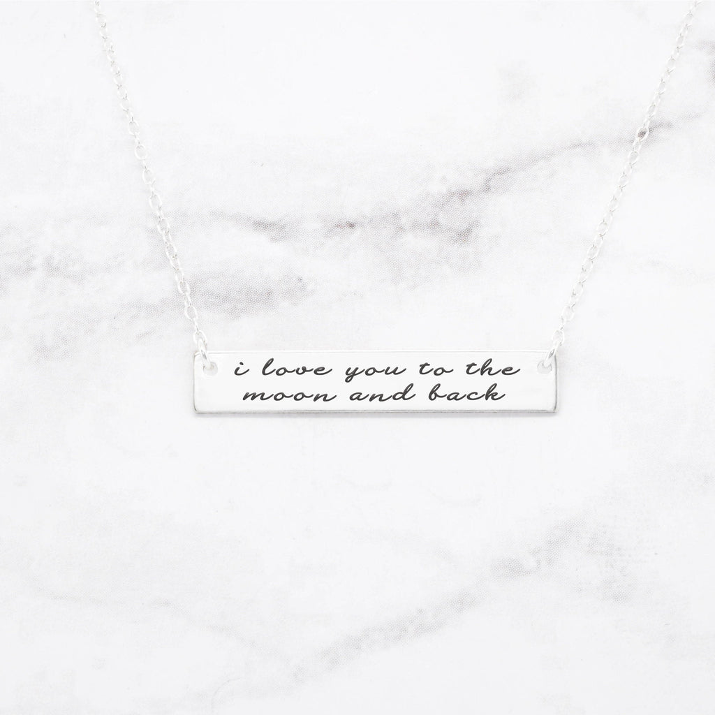 I Love You To The Moon and Back Necklace - Sterling Silver