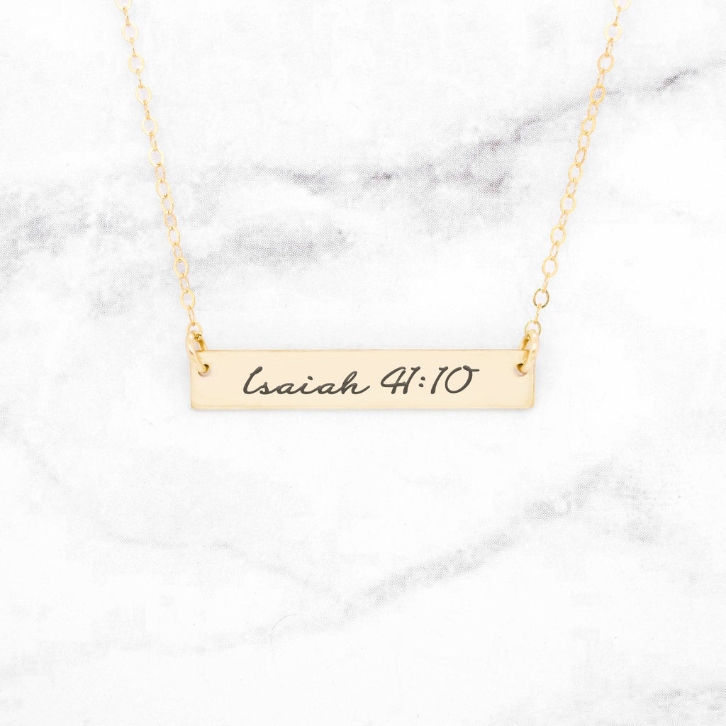 Isaiah 41:10 Necklace - Gold Bar Necklace