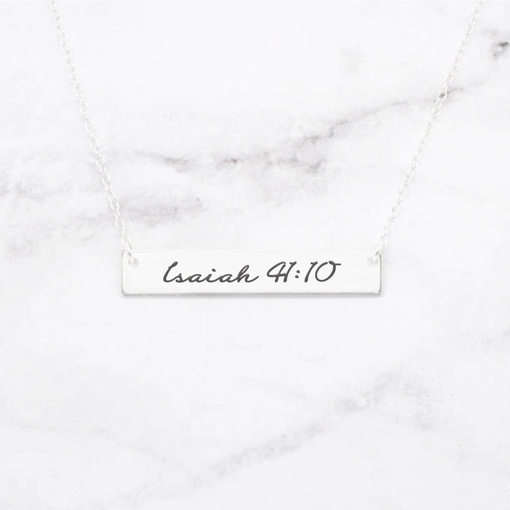 Isaiah 41:10 Necklace - Sterling Silver Bar Necklace