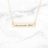 Jeremiah 29:11 Necklace - Gold Bar Necklace