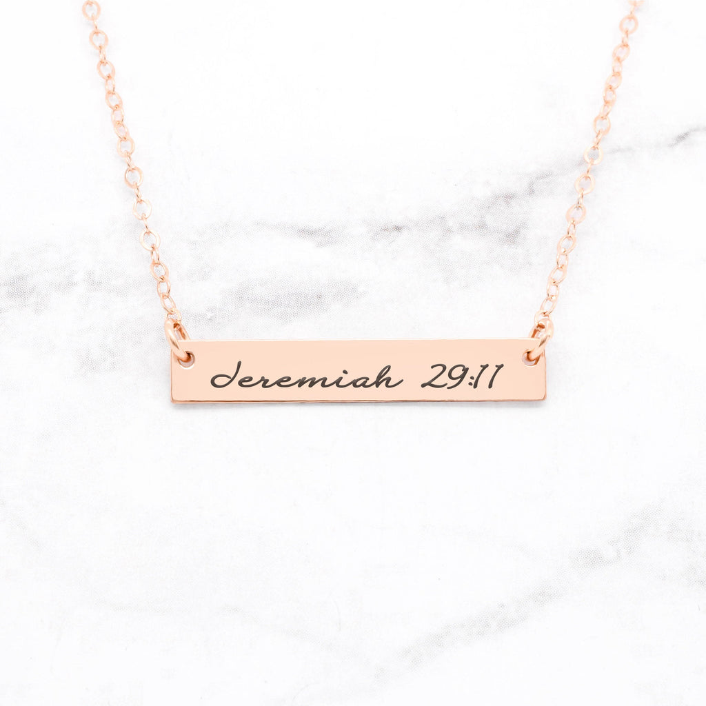 Jeremiah 29:11 Necklace - Rose Gold Bar Necklace
