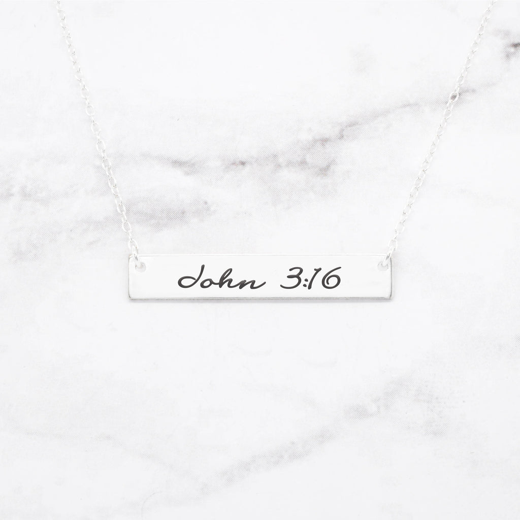 John 3:16 Necklace - Sterling Silver Bar Necklace