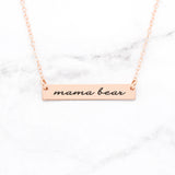 Mama Bear Bar Necklace - Gold