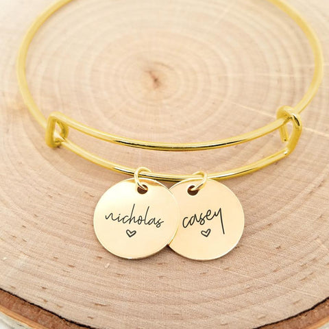 Personalized Bracelet with Hand Stamped Name and Charm