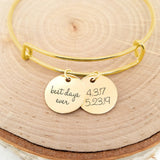Personalized Date Bangle - Gold
