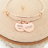 Personalized Date Bangle - Rose Gold