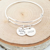 Personalized Date Bangle - Sterling Silver