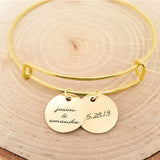 Personalized Gold Bangle - Anniversary Bracelet