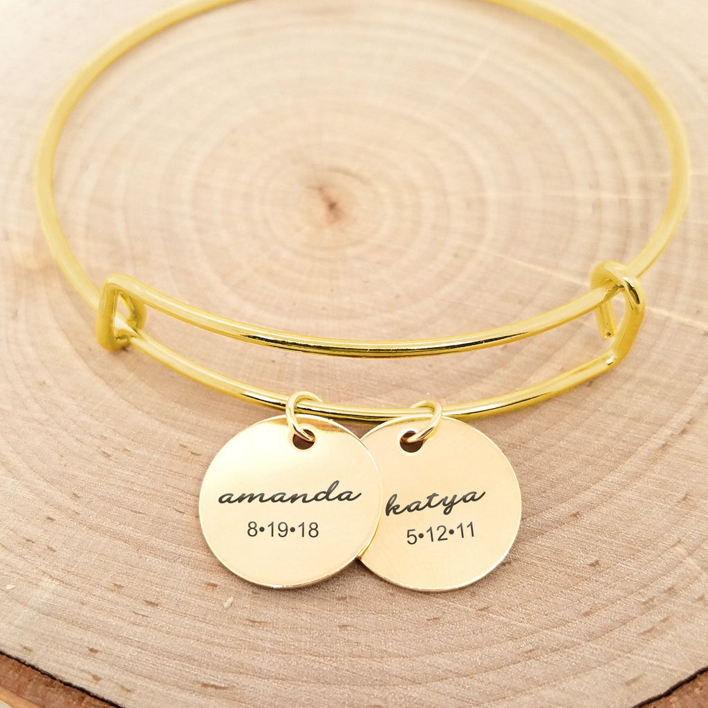 Personalized Gold Bangle - Kids Name & Date Bracelet
