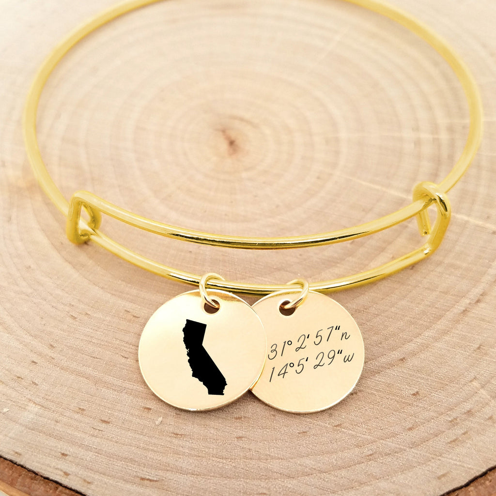 Personalized Gold State Bangle - Coordinates Bracelet