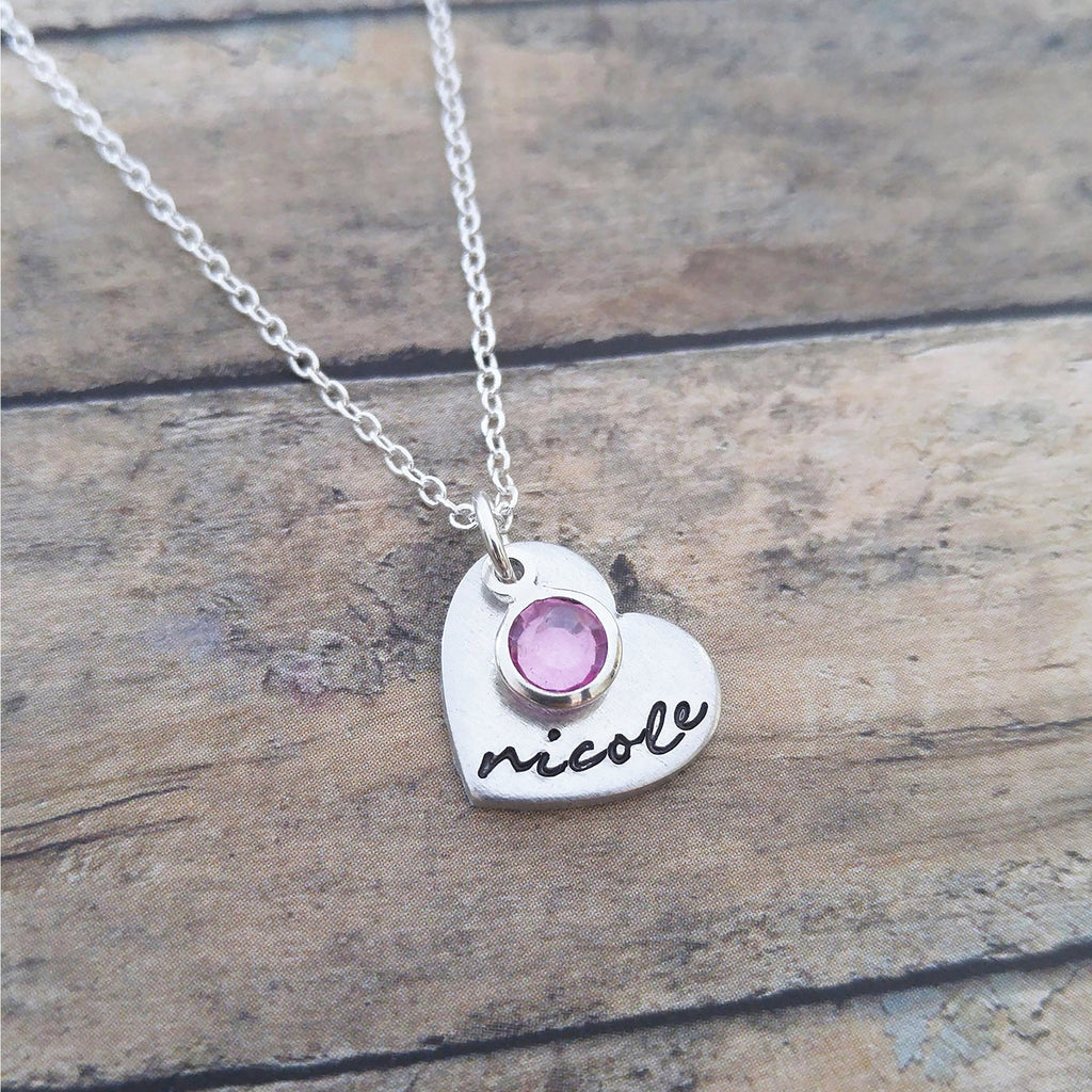 Personalized Heart Necklace with Name and Birthstone
