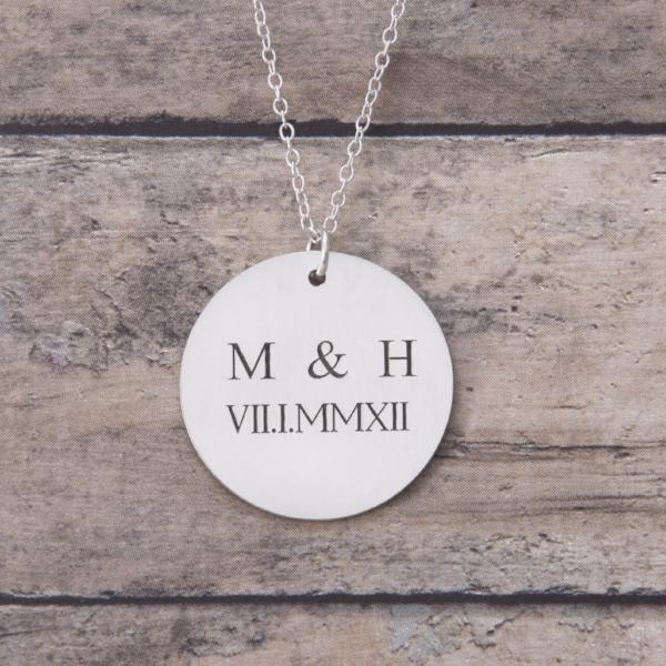 Custom Anniversary Necklace with Initials and Roman Numerals