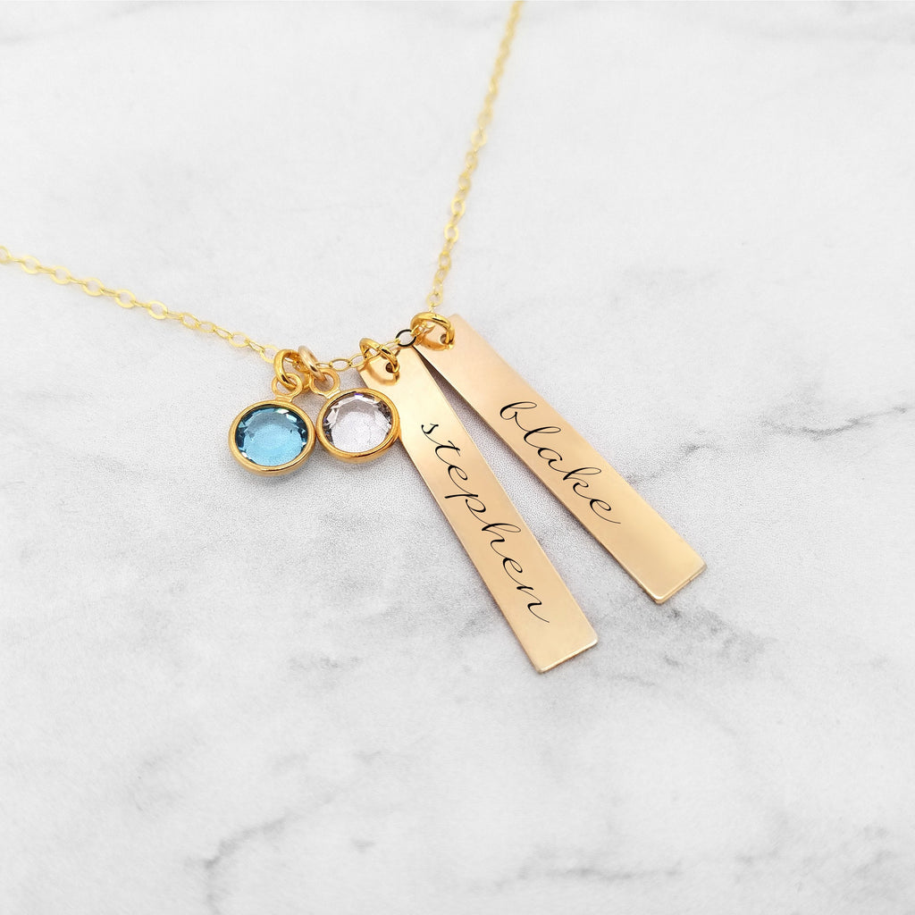 Personalized Mom Necklace- Gold Kids Name Necklace With Birthstones