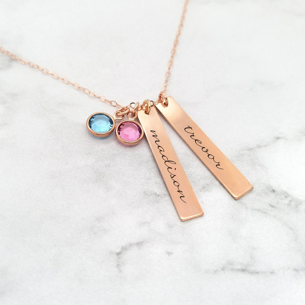 Personalized Mom Necklace- Kids Name Necklace With Birthstones