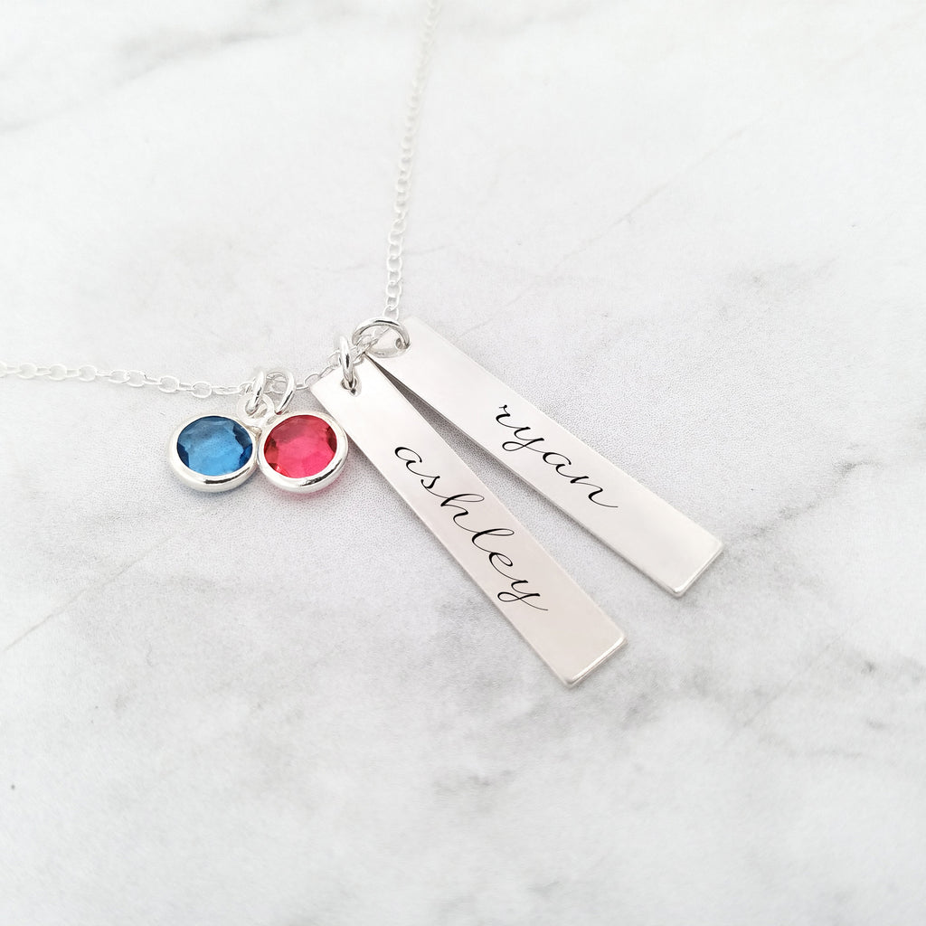 Personalized Mom Necklace- Sterling Silver Kids Name Necklace With Birthstones
