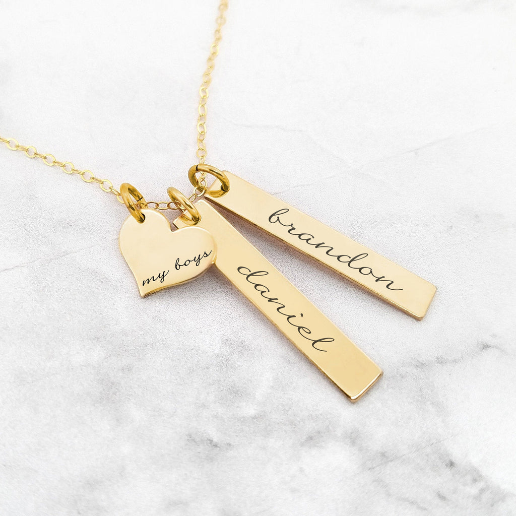 Personalized Mom Necklace - Gold My Boys Necklace