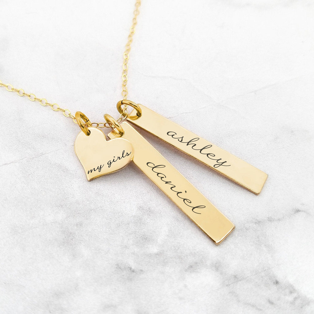Personalized Mom Necklace - Gold My Girls Necklace