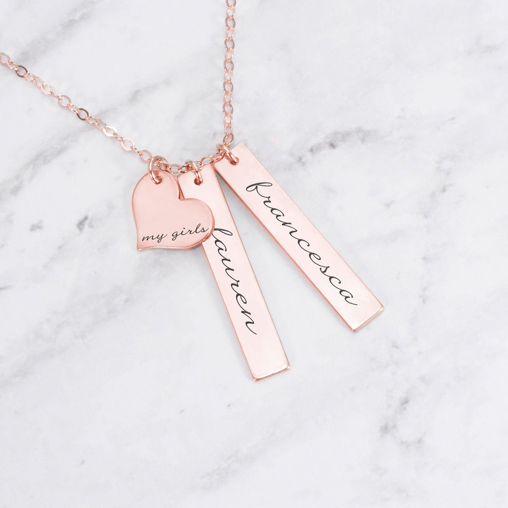Personalized Mom Necklace - Rose Gold My Girls Necklace