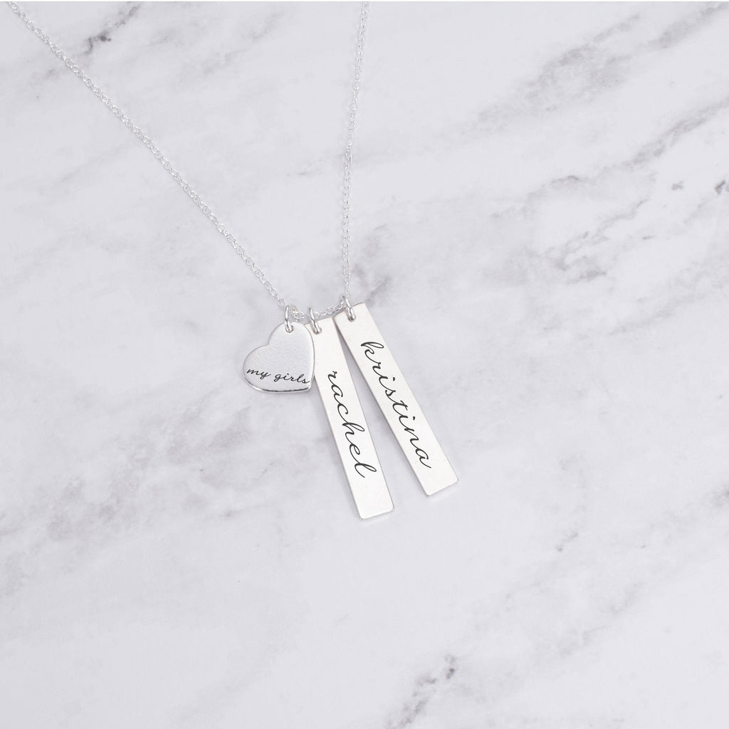 Personalized Mom Necklace - Sterling Silver My Girls Necklace