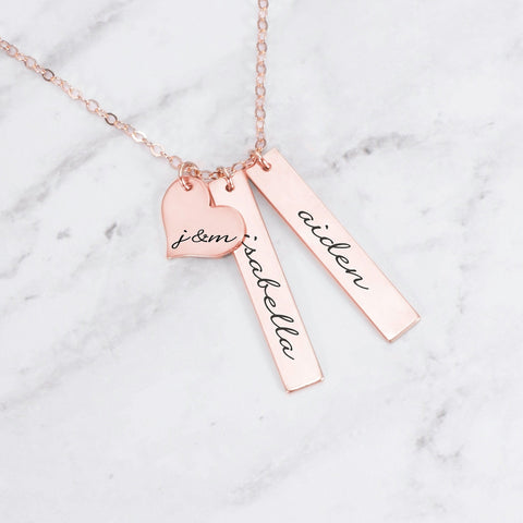 Personalized Necklace with Two Disc & Heart Charm