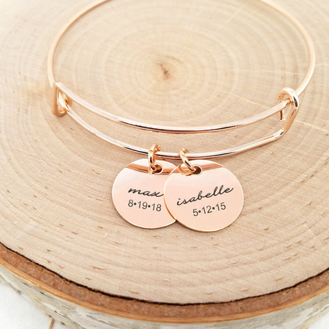 Personalized Silver Bangle - Kids Name & Date Bracelet