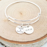 Personalized Silver Bangle - Anniversary Bracelet
