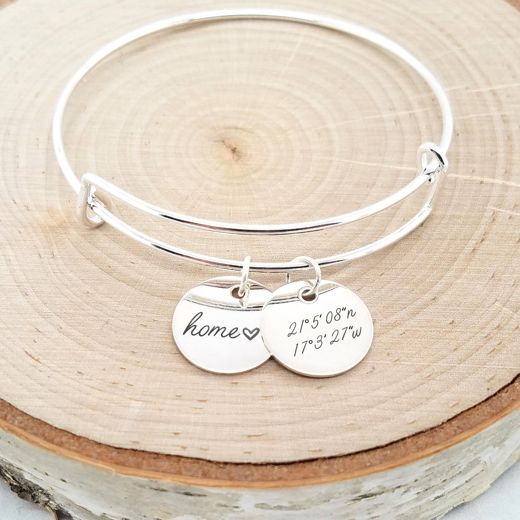 Personalized Silver Bangle - Custom Coordinates Bracelet