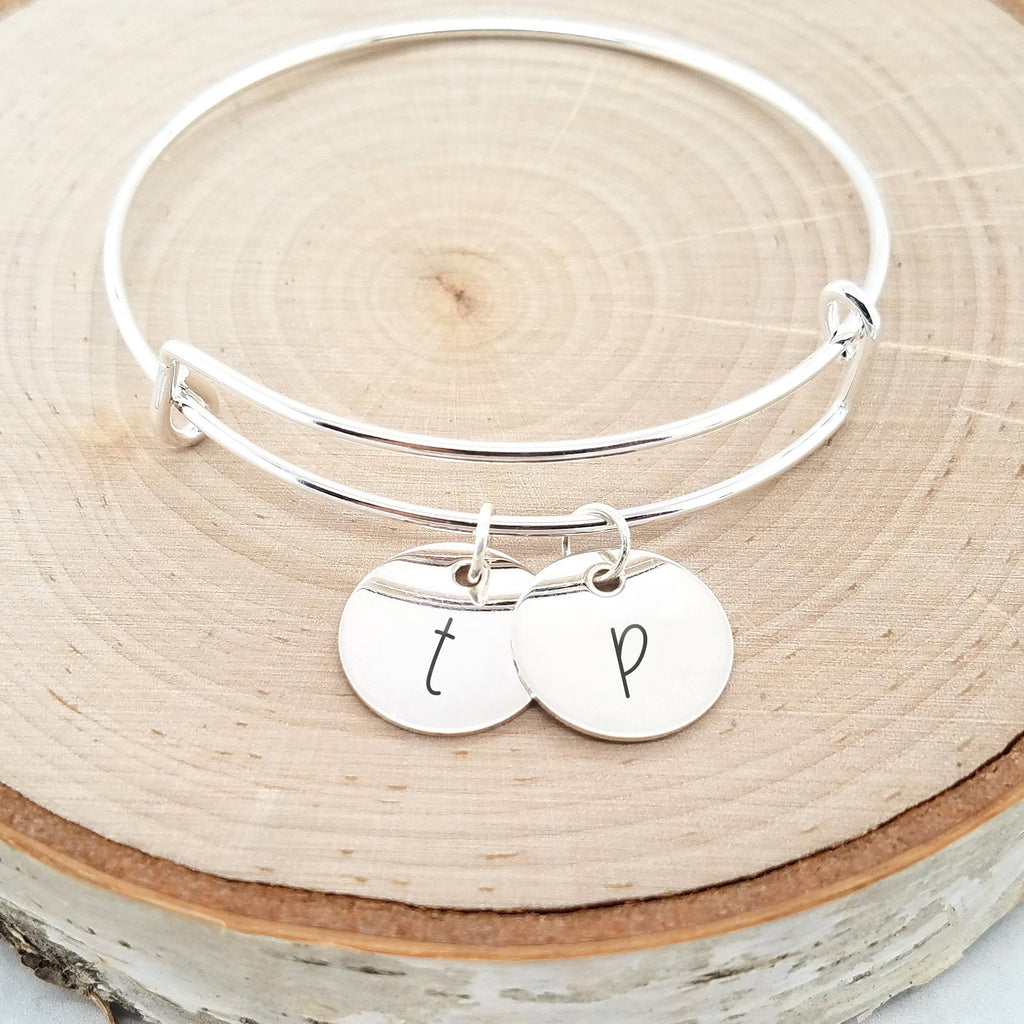 Personalized Silver Bangle - Custom Initial Bracelet