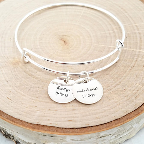Personalized Rose Gold Bangle - An Expandable Personalized Bracelet in Rose Gold