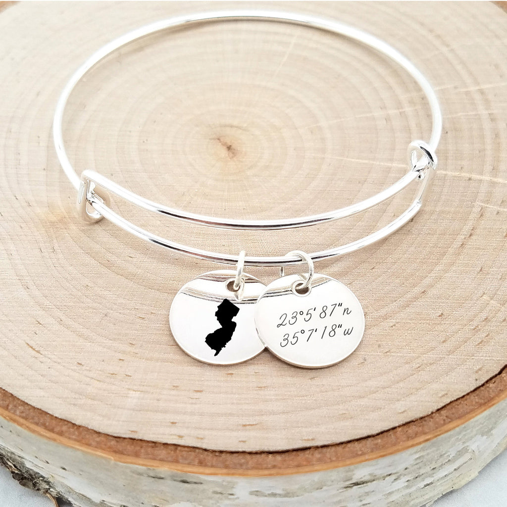Personalized Silver State Bangle - Coordinates Bracelet