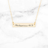 Philippians 4:13 Necklace - Gold Bar Necklace
