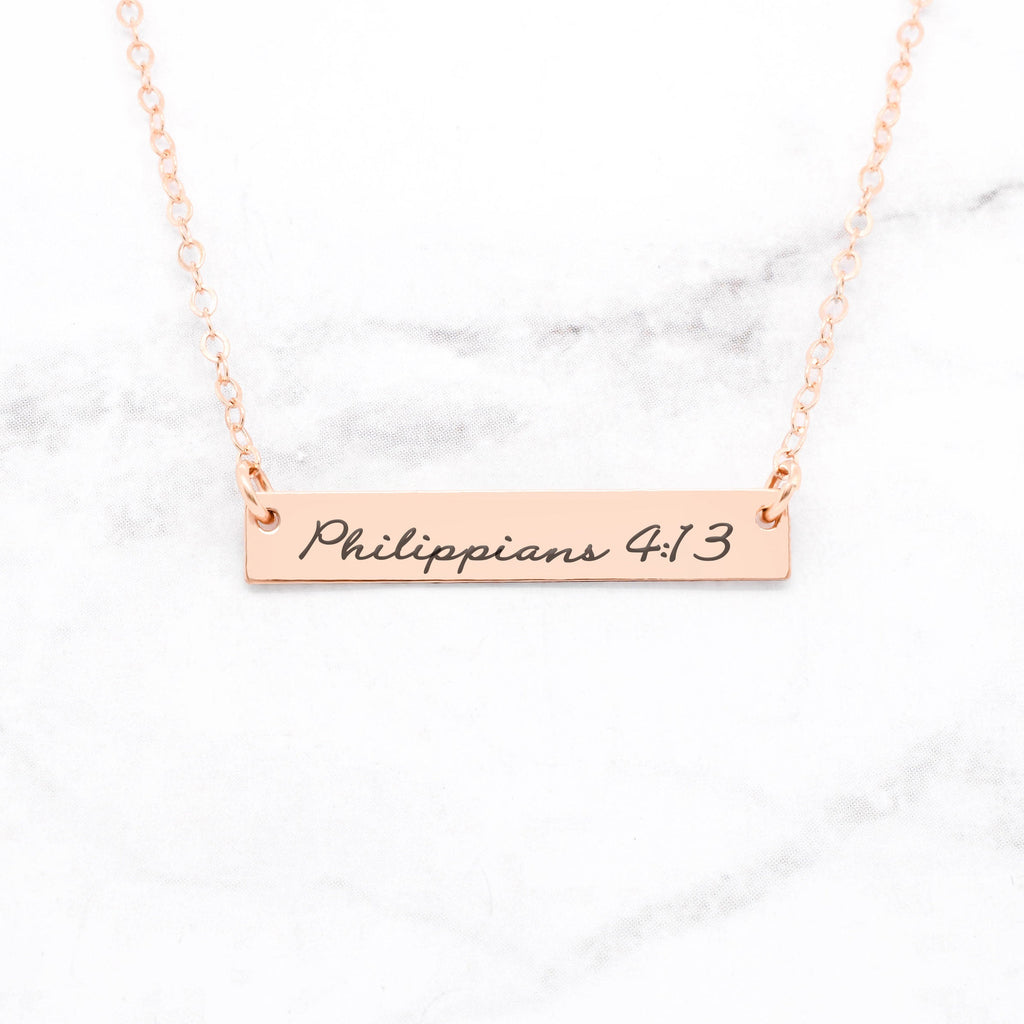 Philippians 4:13 Necklace - Rose Gold Bar Necklace