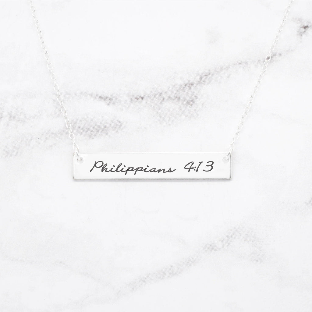 Philippians 4:13 Necklace - Sterling Silver Bar Necklace
