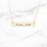 Psalm 23:4 Necklace - Gold Bar Necklace