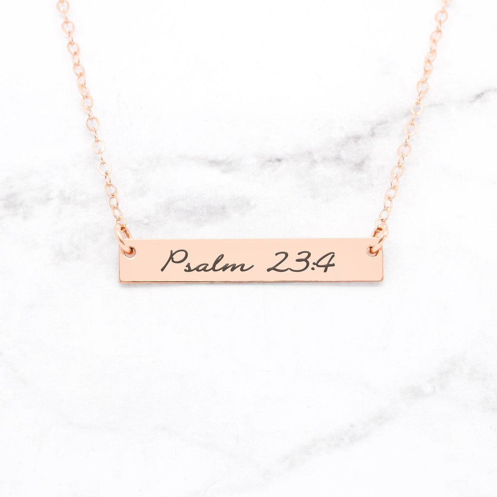 Psalm 23:4 Necklace - Rose Gold Bar Necklace