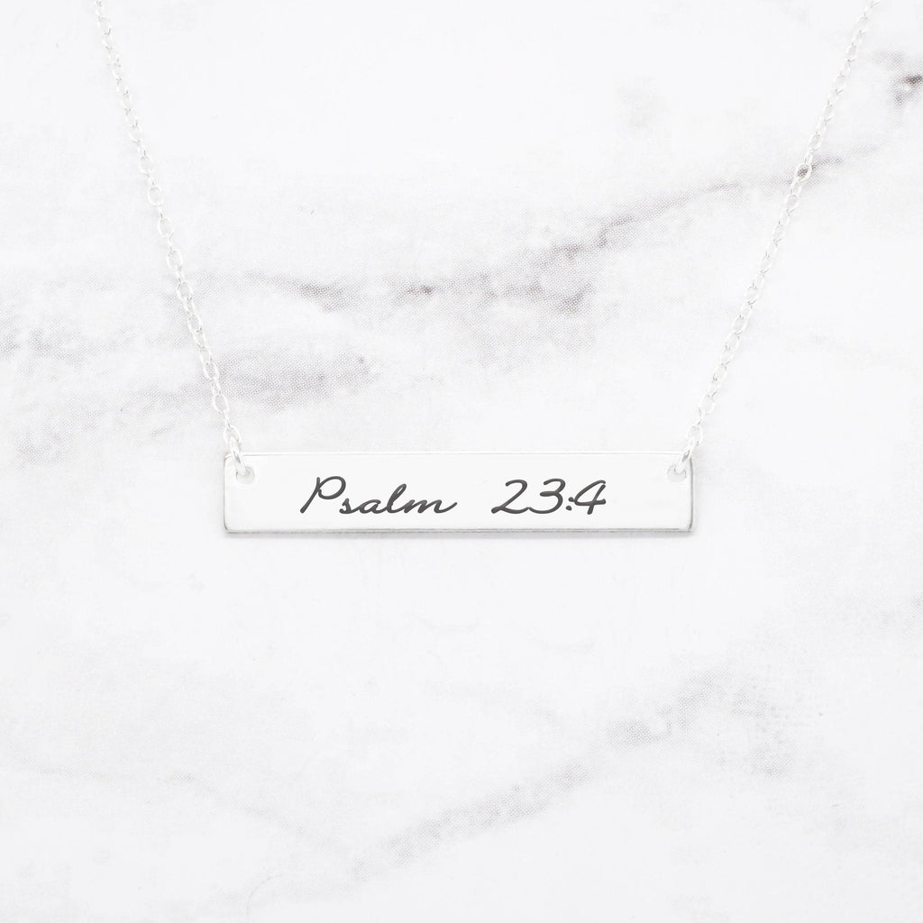 Psalm 23:4 Necklace - Sterling Silver Bar Necklace