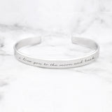 I Love You To The Moon And Back Quote Bracelet