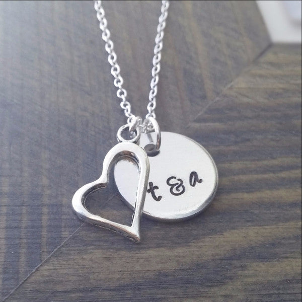 Custom Couples Initials Necklace
